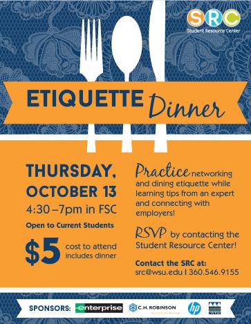Etiquette Dinner flyer