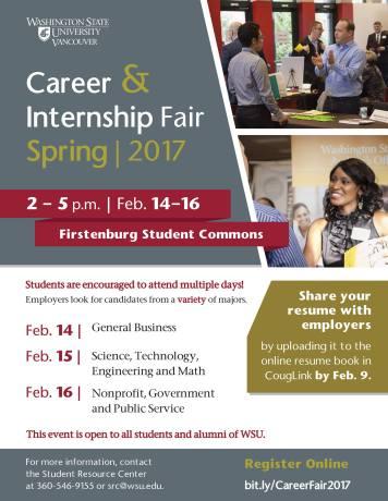 Career & Internship Fair Spring 2017 flyer