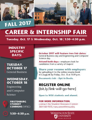 Fall 2017 Career & Internship Fair flyer