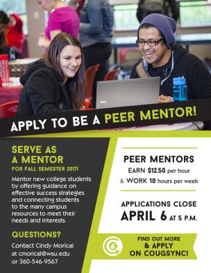 Peer Mentor: Apply Now flyer
