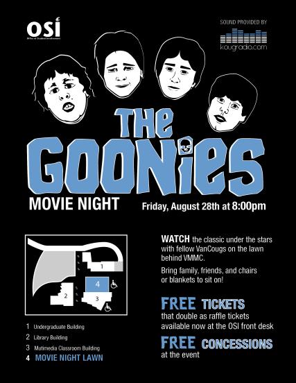 The Goonies Outdoor Movie Night flyer