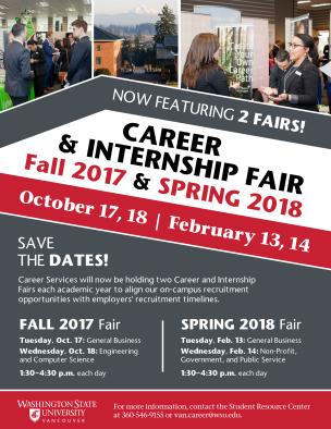 Save the Date: Career & Internship Fair 2017/2018 flyer